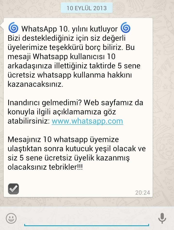 Whatsapp 10 Yıl Mesajı